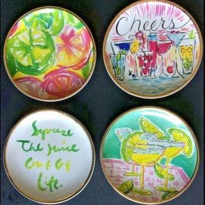 "Lilly Pulitzer 4 Signed HandPainted 3 3/4"" Plates"